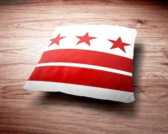 Washington DC Flag Throw Pillows District of Columbia Washington DC Flag Decorative Pillows Washington DC Art Throw Pillow Decorative Pillow