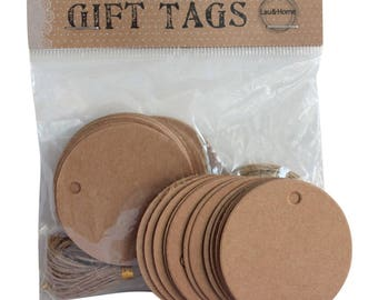 Round Brown Paper Hang Tag Price Blank Kraft Label with Jute Strings