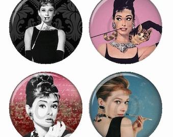 Audrey Favorites  Magnets or Pinback Buttons or Flatback Medallions Set of 4