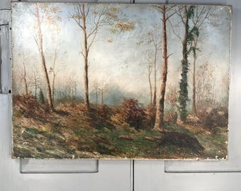 Antique French oil landscape painting on canvas of wild boar in wood forest