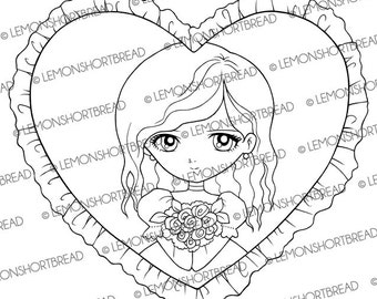 Digital Stamp Heart of Roses Girl, Valentine's Day Digi Download, I Love You, Best Wishes, Clip Art, Card Making, Scrapbooking Supplies