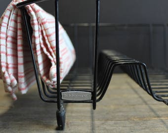 Vintage Retro Black Rubber Coated Dish Rack // Drying Rack