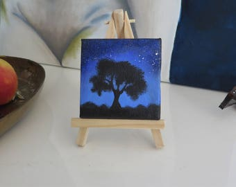 Midnight Tree tiny painting