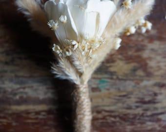 Prairie Romance Sola Flower Boutonniere// Wood Flower Boutonierre