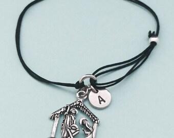 Nativity scene cord bracelet, nativity scene charm bracelet, adjustable bracelet, charm bracelet, personalized bracelet, initial, monogram
