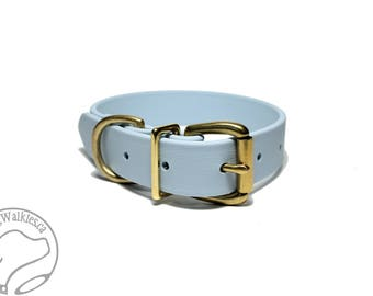"""Biothane Dog Collar - Pastel Baby Blue Dog Collar - 1"""" (25mm) Wide - Waterproof - Leather Look and Feel - Stainless or Brass Hardware"""