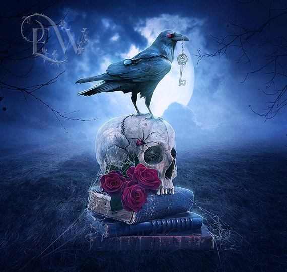 Gothic crow and skull blue art print