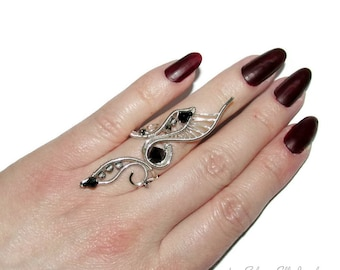 Shapeshifter ring, Statement ring with Swarovski crystals, elven ring, adjustable ring for elven druid costume, unisex ring, druid ring