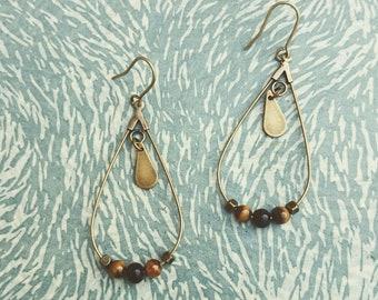 Brass and Tiger eye earrings