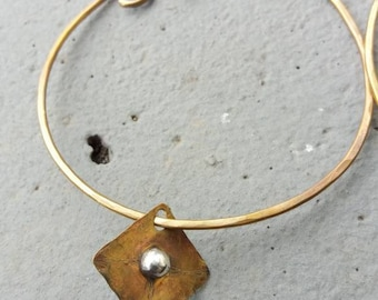 POWERESS HOOPS in 14 gauge Hammered Solid Brass with Sterling Silver