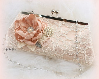 Blush Pink Wedding Purse with Pearl Strap Lace Bridal Handbag Vintage Elegant Style