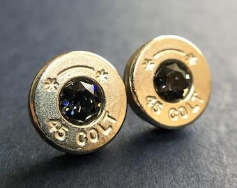 Bullet Earrings Genuine Colt 45 in Swarovski Graphite Grey