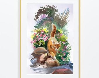 """Original watercolor,cat in the garden , flowers,cat, Size:10""""x 16''"""