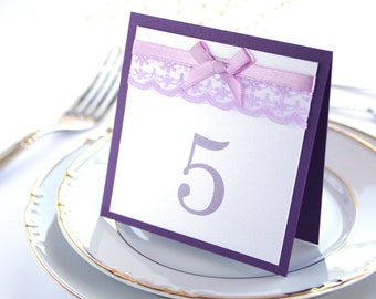 SAMPLE, Romantic Lace Table Numbers, Wedding Table Numbers, Lace Table Numbers, Purple Table Numbers