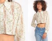 Floral Blouse 70s Boho Crop Top Button Up Shirt Bohemian  1970s Vintage Boho Hippie Romantic Long Sleeve Extra Small xs