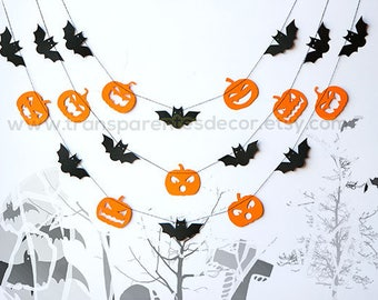 Halloween decor, Halloween Bat garland, Pumpkins & Bat garland, Halloween decorations, Halloween garland, Black and orange garland, KSH-9999