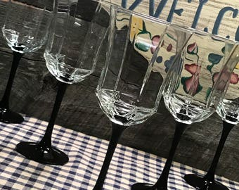 """Set of 4 (FOUR) Beautiful """"Octime Black"""" Wine or Water Glasses by Luminarc (Made in France) with Octagon-shaped, Arcoroc"""