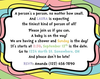 Baby Shower Invitation - Dr. Seuss - Oh The Places You'll Go
