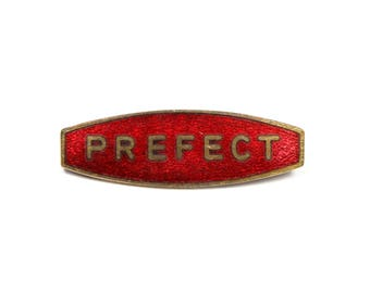 Vintage school  Prefect pin, prefect badge, red enamel school badge, school uniform, brass, wine red enamel, Thomas Fattorini, Gryffindor