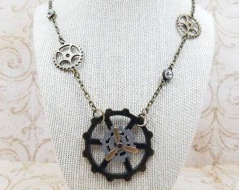 Steampunk necklace - Propeller - Gears - Pendant - Moving parts