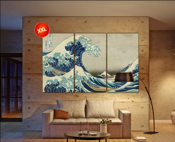 The Great Wave off Kanagawa  print  on canvas wall art  Katsushika Large The Great Wave  - Hokusai photo art work framed art artwork