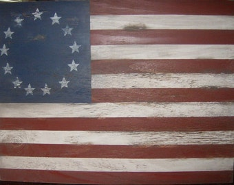 "Rustic American Flag wall decor 1776 style-32""x 24""/Patriotic/Americana/Red White Blue"