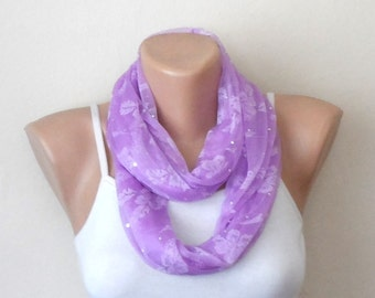 purple infinity scarf  lace loop scarf violet shawls puce circle scarf wrap gift woman accesories, bridesmaid gift, trendy wedding color