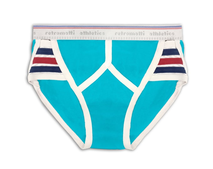Retro Side Striped Briefs in Aqua Blue