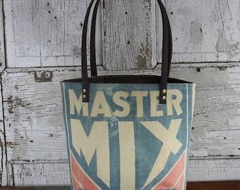 Vintage Master Mix Feed Sack Shoulder Bag | Repurposed | Upcycled | Tote Bag | Feedsack | Grain Sack | Chick Starter | Chicken Feed
