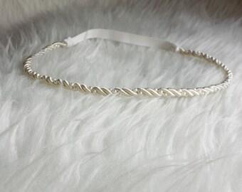 Newborn baby girl Ivory halo headband with pearls
