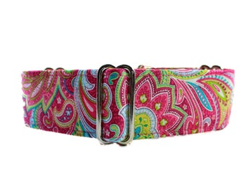 Pink Martingale Collar, Paisley Martingale Collar, Paisley Dog Collar, 1.5 Inch Martingale Collar, Made in Canada, Sighthound Collar