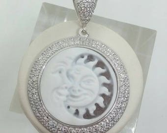 Cameo Sun Moon. Sterling Silver and cubic zirconia.