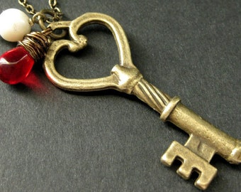 Key Necklace. Bronze Key Pendant with Wire Wrapped Red Teardrop and Fresh Water Pearl. Handmade Jewelry.