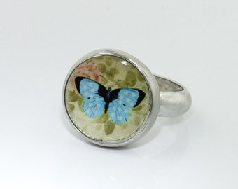 Interchangeable kids ring, pewter jewelry, children's jewelry, butterfly ring