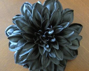 Jet Black Dahlia Poly Silk Flower Brooch Pin