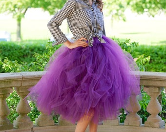 Tulle skirt - Plum tulle skirt - Tea length tulle skirt - Tulle skirt- Bridal tulle skirt- Wedding tulle skirt- Wedding dress- Formal skirt
