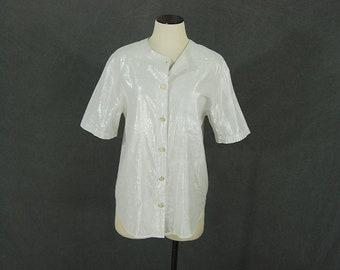 vintage 80s Silver Blouse - 1980s Minimalist Metallic Cotton Gauze Shirt Sz M L
