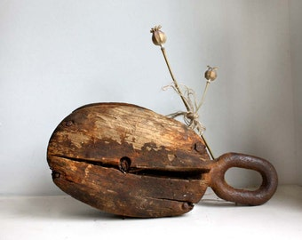 Rusty Old ca. WWII Steel and Wooden Boat Single Pulley. Maritime Collectable. Irish Boatyard Salvage.