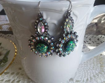 PRETTY Repurposed Silver Multi-colored Rhinestone Earrings