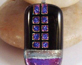 Fused Cabochon Rectangle Pendant Dichroic Purple Pink Silver Patterns on Black by Solaris Beads - Dyed Silk Cord Included
