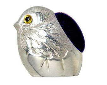 925 sterling silver Novelty detailed hatching chick pin cushion glass eyes hallmarked sampson