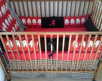 Alabama red elephants and houndstooth baby bedding set