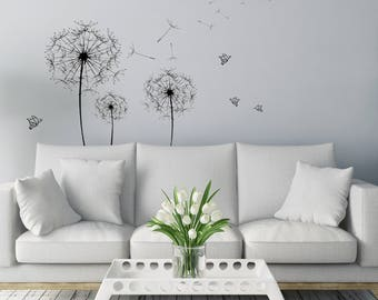Dandelion Wall Art Sticker/ Butterfly Silhouette / Interior Wall Sticker /  Simple Design/ Minimalist Decor / High Quality Decal