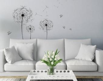 Dandelion Wall Art Sticker/ Butterfly Silhouette / Interior Wall Sticker /  Simple Design/ Minimalist Decor / High Quality Decal