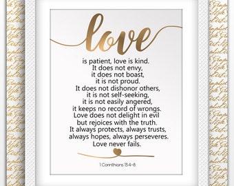 Love is Patient Love is Kind Art 1 Corinthians 13:4-8 Bible Verse Quote Art Scripture Printable Christian Idea Art Love Never Fails Best Art