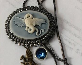 Double dragon scale necklace gunmetal cameo