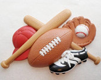 Sports wall Plaque  FOOTBALL  BASEBALL SOCCER  Vintage Burwood Products plastic Homco