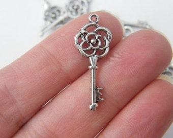 BULK 50 Key charms antique silver tone K10