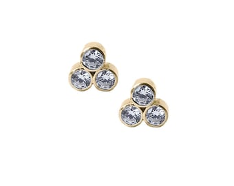 14K Yellow Gold Stud Earrings | Three Stone stud earrings | Moissanite earrings | Diamond earrings