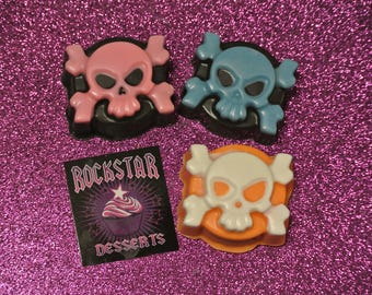 Skull and Crossbones Chocolate Covered Cookies